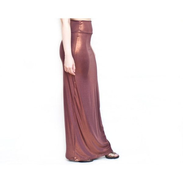 Copper Metallic Wet Look Slinky High Waist Maxi Skirt XS S Short ❤ liked on Polyvore featuring shorts, high rise shorts, short shorts, high-rise shorts, sparkly shorts and metallic shorts