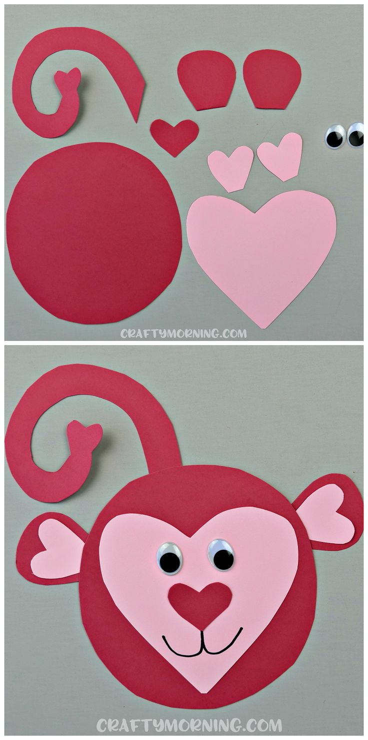 40cc88bd2d7baf1d6f613f5b18c5080a - Here's an adorable heart shaped monkey craft for kids! Perfect for a valenti...