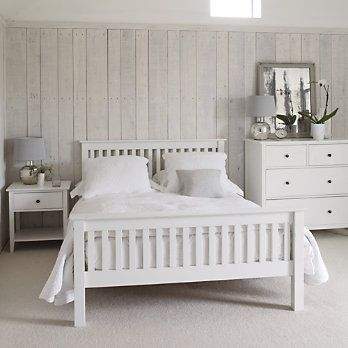 Stylish wooden bed with white painted solid wood frame; bed has a pine slatted base. Simple self-assembly. Please note that we advise that the Hampton range is suitable for adults only, and that for childrens beds, you use our Nantucket range