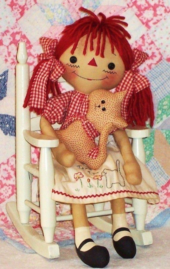 Rag Doll Pattern, Cloth Doll Pattern, Raggedy Annie Doll Pattern via Etsy.