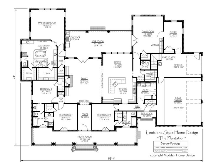 44 best dual master suites house plans images on pinterest for Plantation desk plans