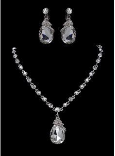 Smykker sett Jubileum bryllup engasjement Bursdag Gift Party Daily Alloy med rhinestones sølv Smykker med Rhinestone (011017274)