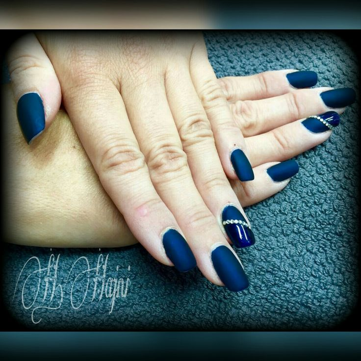 Matte dark-blue nails