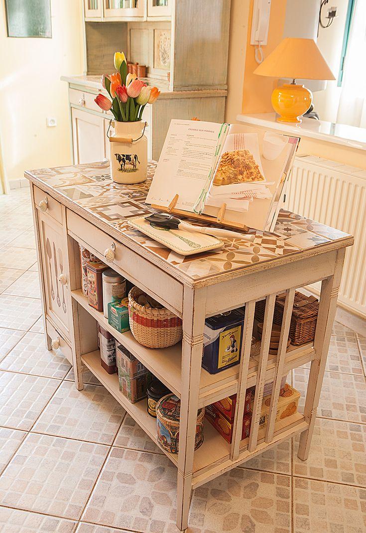 Vintage desk became kitchen island Refurbished @ Ifigeniashome