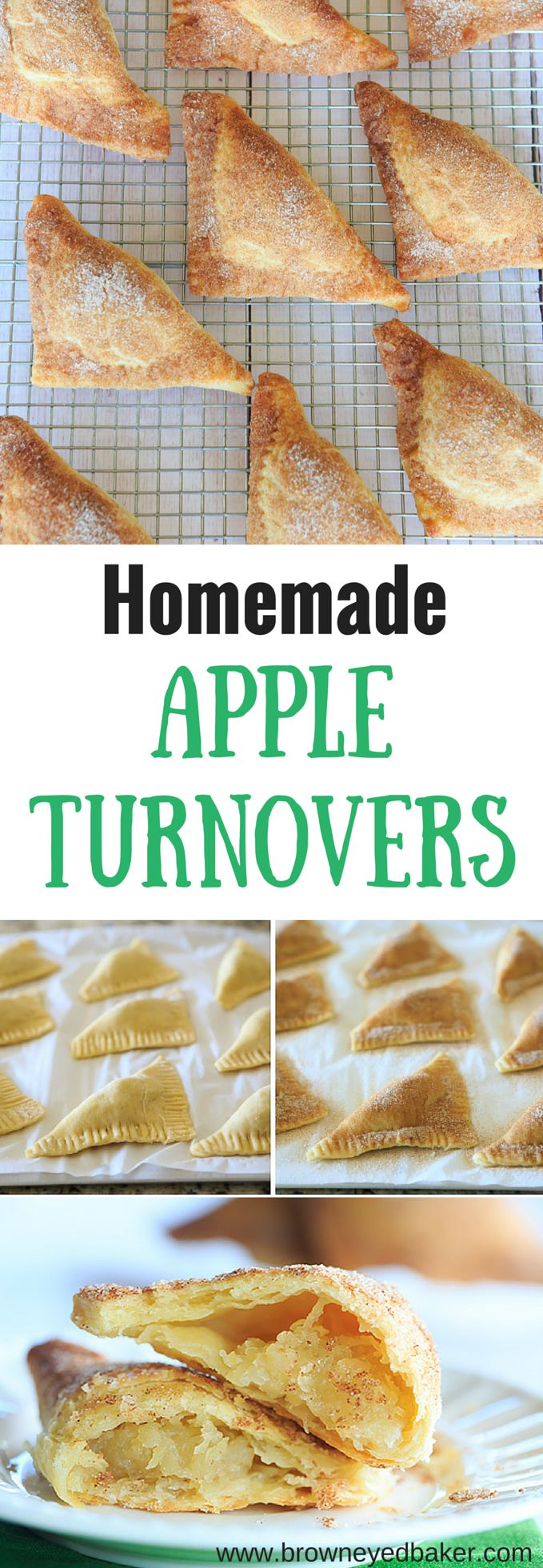 Apple Turnovers FROM SCRATCH! Flaky pastry dough and a slightly sweet apple filling... | http://www.browneyedbaker.com/apple-turnovers-from-scratch/