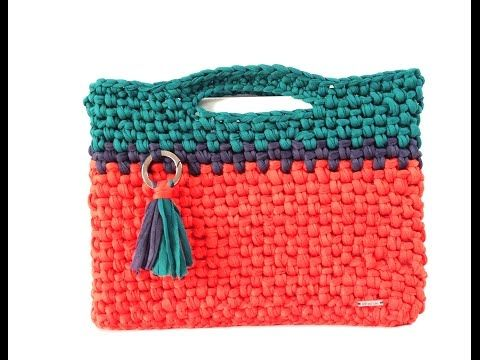 BOLSO BUCKET DE CROCHET CON BASE DE PIEL Y ASA SCARLET - YouTube