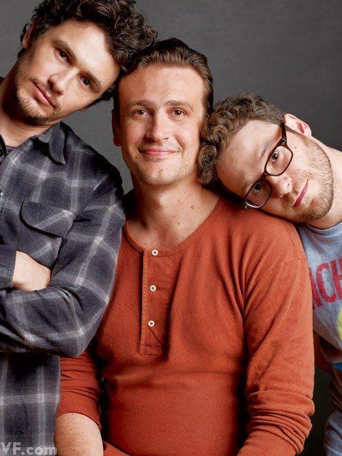 James Franco, Jason Segel, and Seth Rogen.