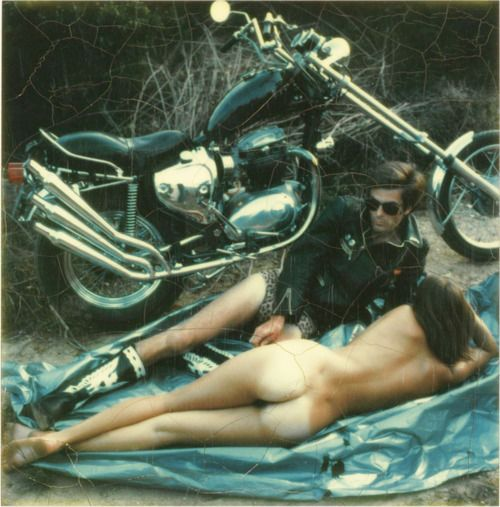 couple with motorcycle photo by Helmut Newton, 1974