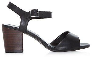 New Look Wide Fit Black Leather Opentoe Block Heel Sandals on shopstyle.co.uk