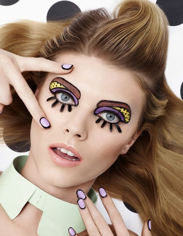 Vogue Japan Model: Maryna Linchuk Photographer: Lacey Styled by: Beth Fenton Make-up by: Andrew Gallimore COMIC BOOK INSPIRED BEAUTY BRIGHTS DOTS NAILS BLUE LASHES NAIL ART MANICURE PASTELS BEAUTY EDITORIAL HALLOWEEN INSPIRATION CARTOON