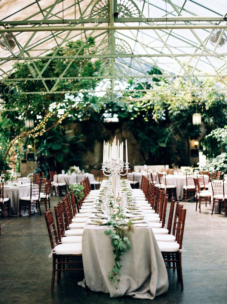 wedding venues north queensland%0A Greenery Table Runner on neutral linens with dark wood chairs
