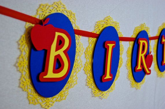 Snow White Inspired Happy Birthday Banner - has a matching invitation set! Adorable!!