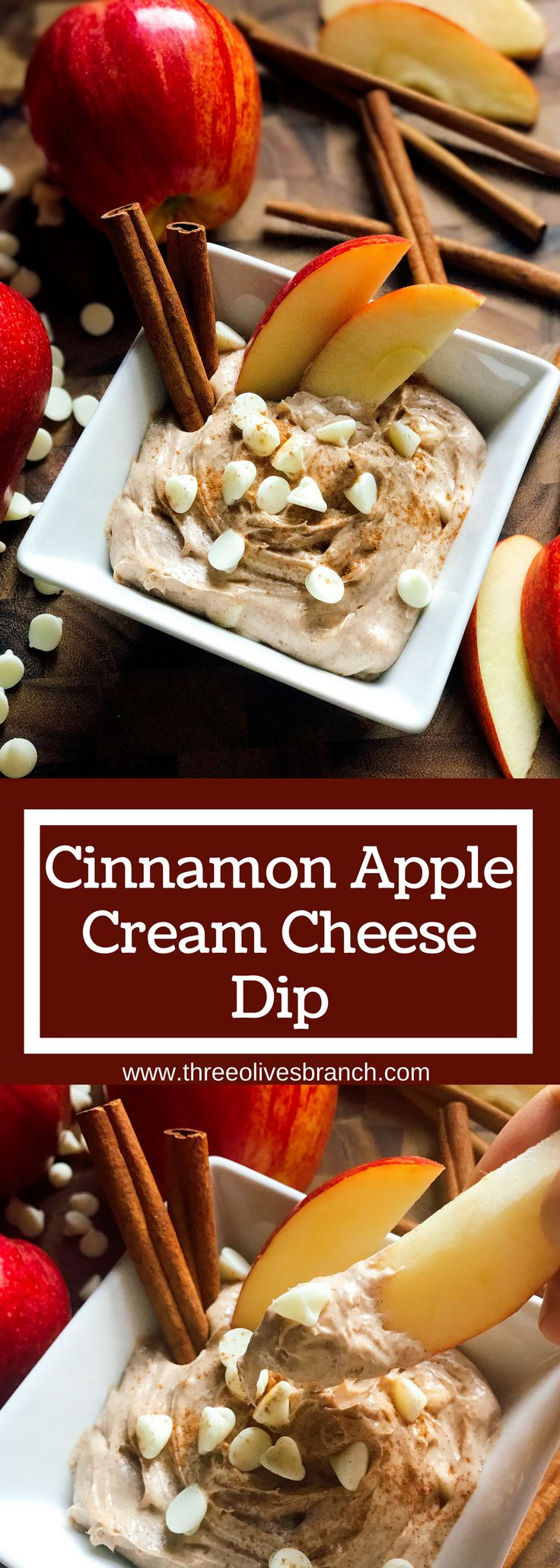 A sweet dip ready in 5 minutes! Apple and cinnamon shine in this dip that is perfect for the fall and Thanksgiving. Vegetarian, gluten free, kid friendly, and a perfect treat or snack! | Three Olives Branch | Cinnamon Apple Cream Cheese Dip | www.threeolivesbranch.com #Prep4Gathering #ad
