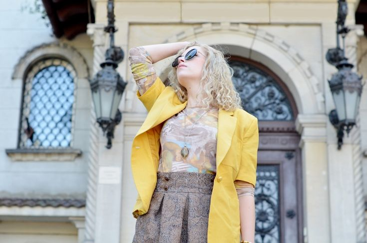 yellow vintage jacket and jacquard skirt by Iga Parker from www.STYLENIGHTCAP.com