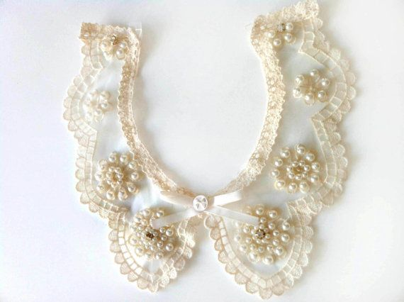 Vintage  Peter Pan  Necklace Organza Collar Embroidered by KBazaar, $7.00