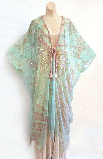 Zandra Rhoes chiffon caftan from the collection of the actress Irene Worth, 1970s. From the Vintage Textile archives.