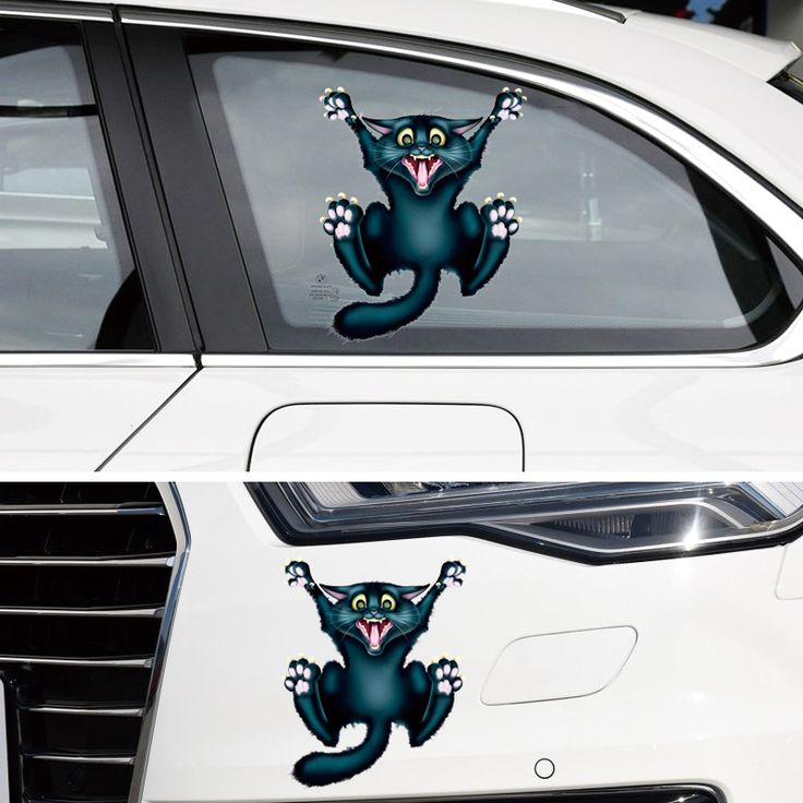 Auto motorcycle sticker crazy cat car styling car stickers and decals car window decor body decoration
