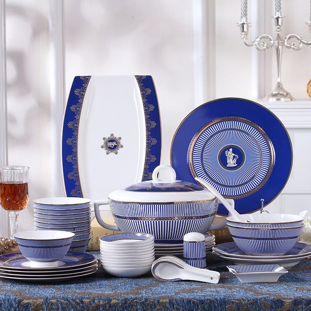 ceram Dinnerware set western-style chinaware gift box 48pcs dishes bone china household high quality for marry gift