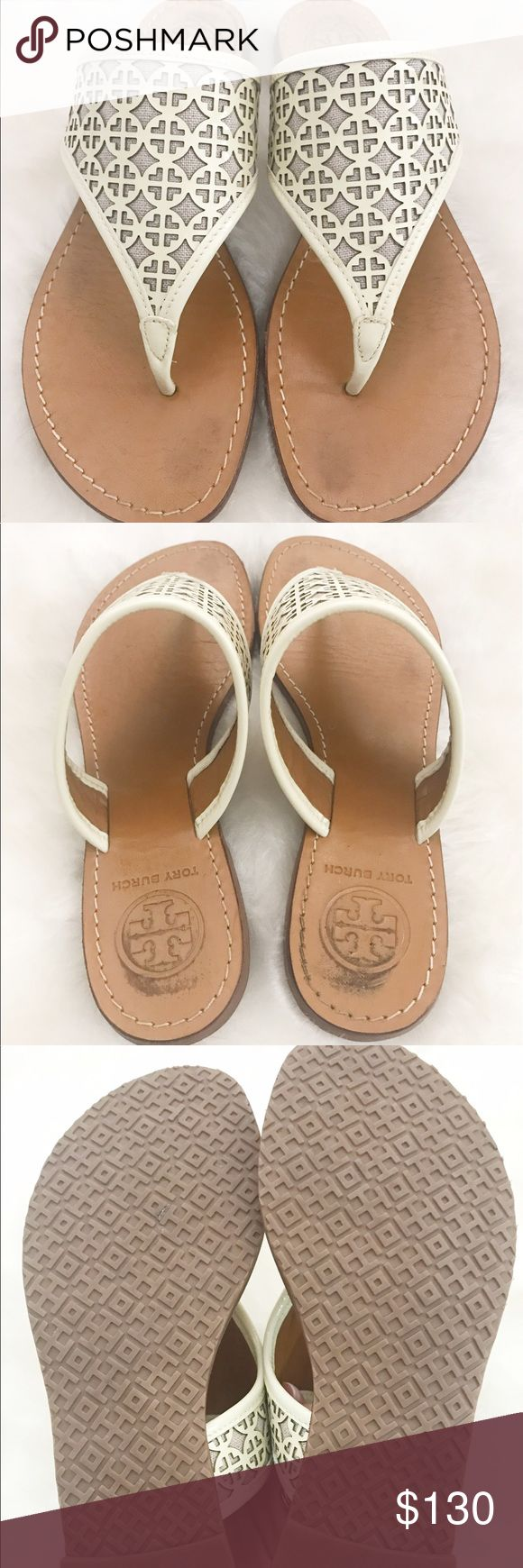 Tory Burch Fret Logo Ivory Sandals Size 7 These are a pair of gently worn Tory Burch Fret perforated Thong sandals! There is a little wear on foot bed of sandals. Ivory in color 😃 size 7 Tory Burch Shoes Sandals