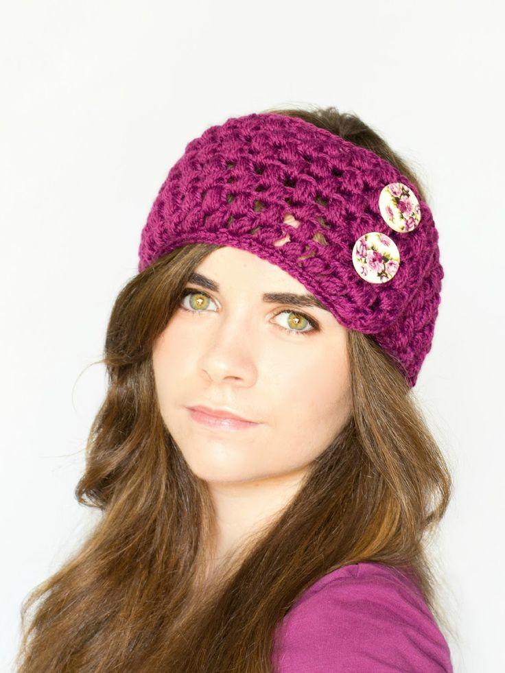 Puff Stitch Earwarmer Crochet Pattern via Hopeful Honey