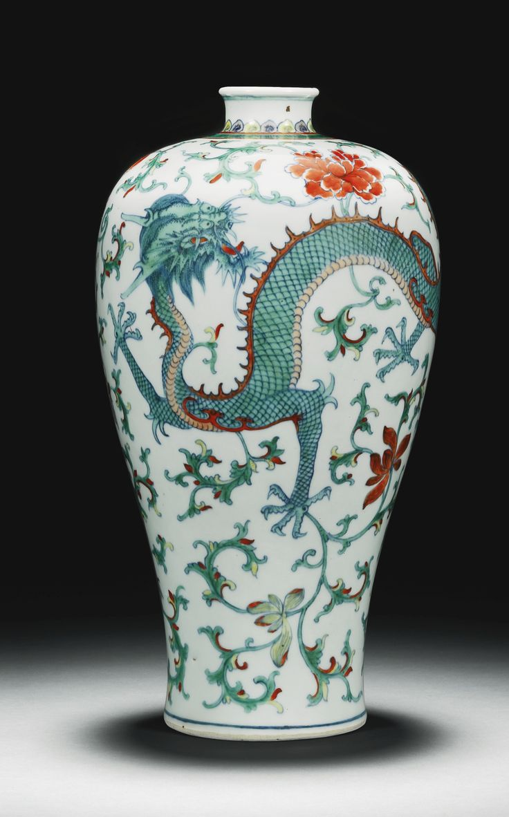 A doucai 'dragon and phoenix' Meiping Vase, Qing Dynasty, 18th century.