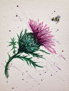 Watercolour of a Scottish thistle with bee. Possible tattoo idea? Scottish thistle purple & green colours hand-painted original by Gill Bonnamy