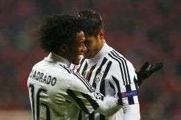 Juan Guillermo Cuadrado en la celebración de su cuarto gol con la camiseta de la Juventus; el Bayern Múnich lo sufrió en UCL.