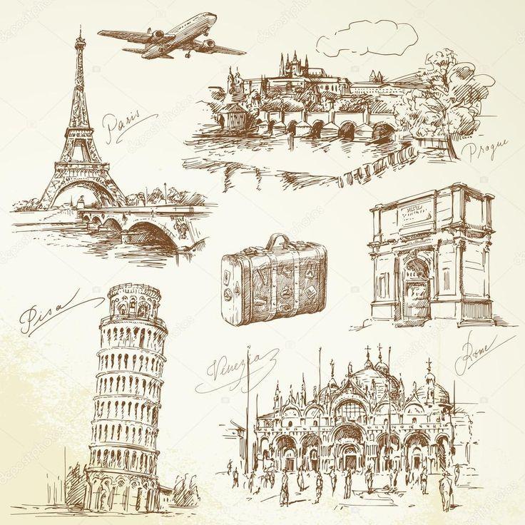 Cestování po Evropě — Stocková ilustrace #13784436