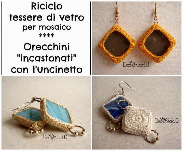 """decoriciclo: Riciclo tessere di vetro per mosaico: orecchini """"incastonati"""" con l'unicnetto"""