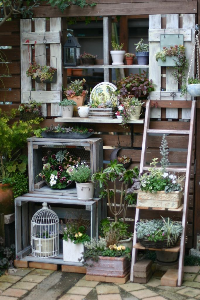 Potting Shelves & Vertical Ladder Garden - Make shutters, boxes & shelves from repurposed pallet timber. With a little creative inspiration, you can create this layered look & maximise space. More ways to use pallets in your garden @ http://themicrogardener.com/20-creative-ways-to-upcycle-pallets-in-your-garden/  | The Micro Gardener