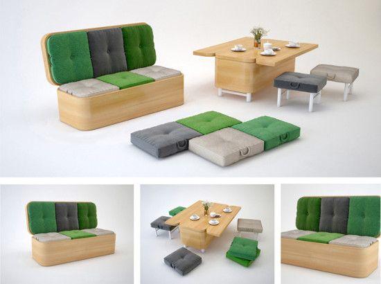 Sofá modular que se transforma en un pequeño comedor - NaciónDiseño