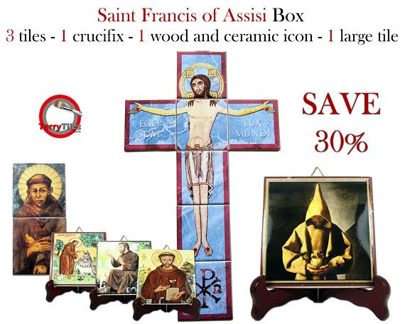 Special tiles box dedicated to #Saint #Francis of #Assisi. You will receive: - 3 icons on tile about cm 10 x 10 - 1 larger icon on tile about cm 20 x 20 - 1 San Damiano Crucifix composed by 7 tiles about cm 30 x 50 - 1 ceramic and wood icon composed by 2 tiles about cm 10 x 20 You will save more than 30% on regular price. Free shipping to selected countries. Now available in my #Etsy Store: https://www.etsy.com/listing/526818215 #stfrancis #saintfrancis #catholic #faith #pray #prayforus…