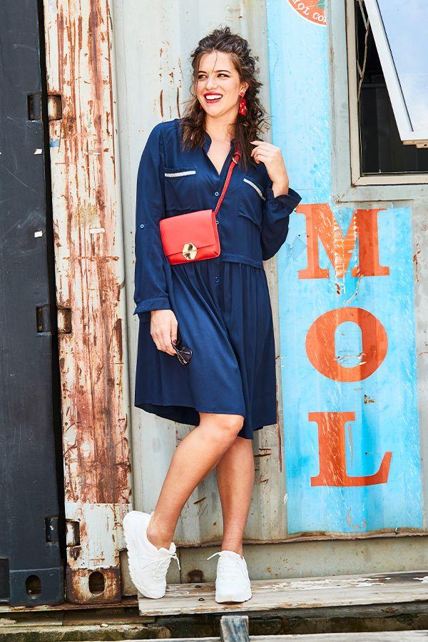 Blaues Hemdkleid in großen Größen (42-56)