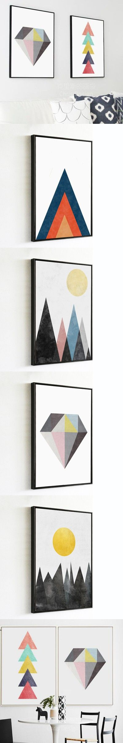 Watercolor Nordic Geometric patterns Art Prints Poster Hipster Wall Picture Canvas Painting Kids Room Home Decor $9.99
