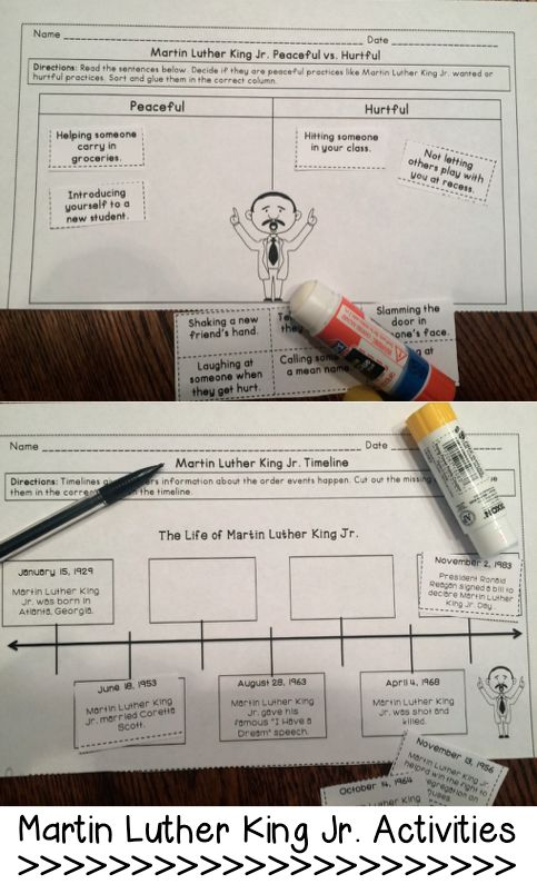 Martin Luther King Jr. Cut and Paste Activities that are perfect for cover MLK Day and hit reading and writing standards.