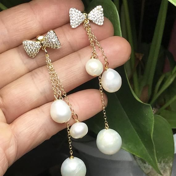 Freshwater Pearl Earrings Mothers day Gift Circle Earrings Natural Gemstone 24k Gold Plated Drop Dangle Earrings Wire Wrapped Earrings