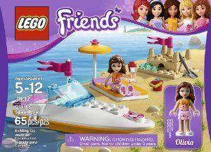 LEGO Friends 3937 Olivia's Speedboat by LEGO Friends. $8.76. LEGO mini-dolls are figures made especially for the world of LEGO Friends, with thousands of customizable fashion and accessory combinations.. Bring the LEGO Friends for a ride around the bay. Features sand castle, shovel, bucket, beach towel, umbrella and cup. Collect all of the LEGO Friends sets for a whole city of LEGO Friends fun. LEGO Friends pieces are fully compatible with all LEGO System bricks. From the Ma...