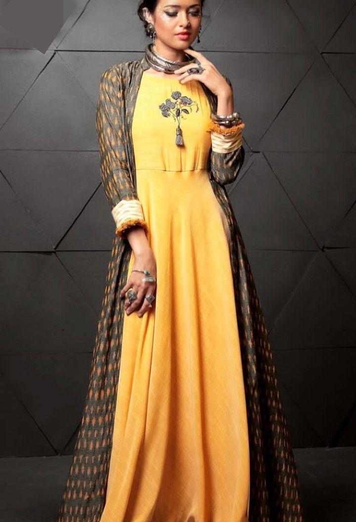 Beautiful Long Cotton Kurti With Full Length Jacket And Superb