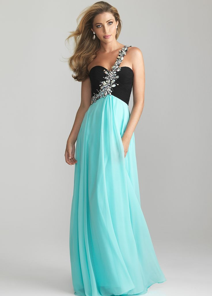 Beautiful blue one shoulder gown   Night Moves 6617