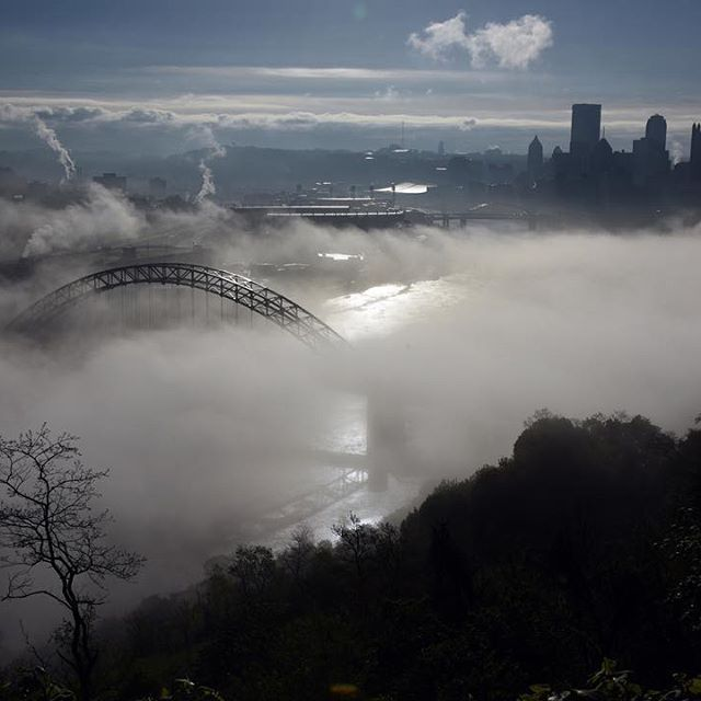Fog lays over the Ohio River with part of the West End Bridge showing with the Pittsburgh skyline in this view from the West End Overlook on Wednesday.  (Photo by Darrell Sapp/Post-Gazette)  #Pittsburgh #PGH #412 #skyline #OhioRiver #PGPhotos