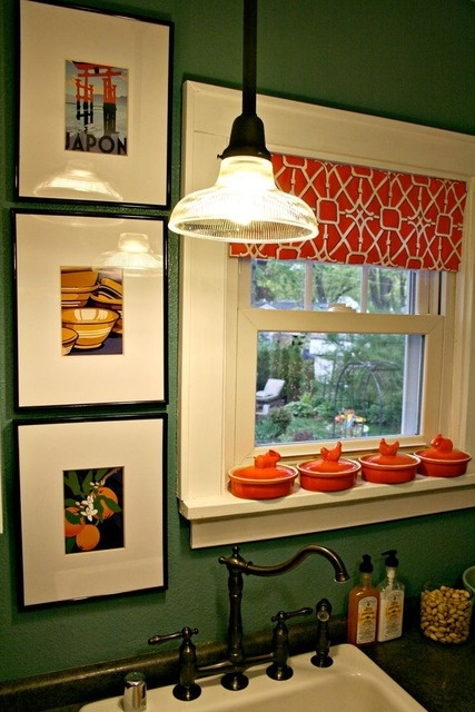 Green and orange kitchen.  The unfussy valance is a nice, tailored touch.