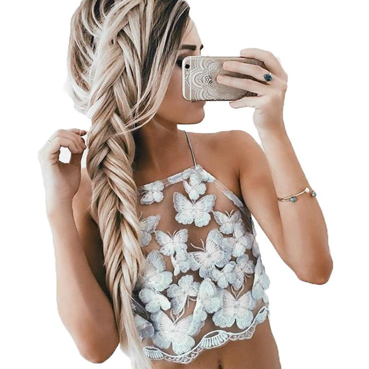 Butterfly embroidery sexy backless blouse openwork lace halter top summer high neck elegant tank top short collar bow crop top
