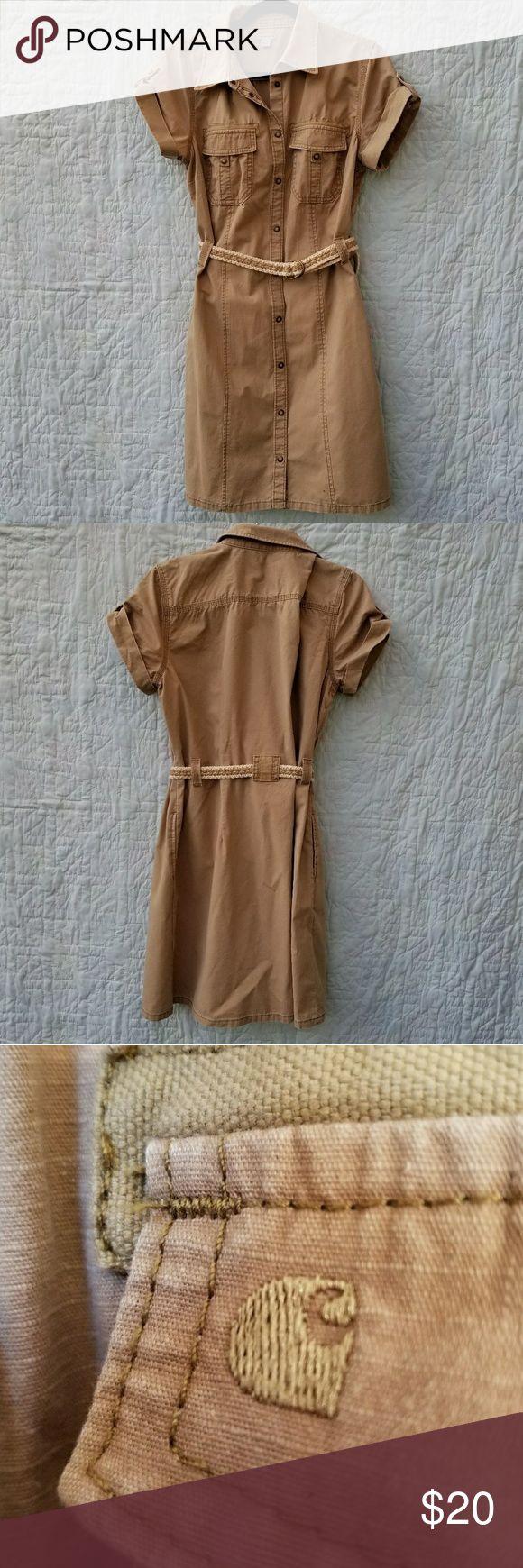 Carhartt Shirt dress Khaki Carhartt Shirt dress. Snaps down, embroidered logo on front pocket. 100% cotton, machine wash. Carhartt Dresses