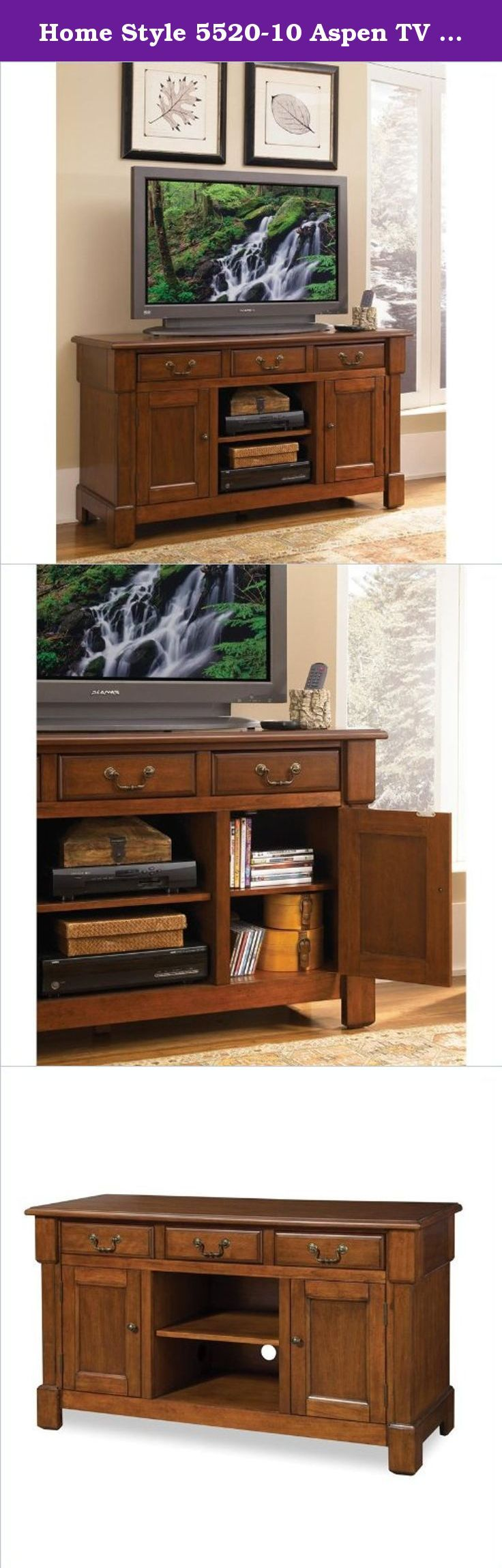 Home Style 5520-10 Aspen TV Credenza Stand, Rustic Cherry. This aspen TV credenza stand provides generous storage in the center, cable accessible and storage compartment with an adjustable shelf. Made of poplar solids and cherry veneers which are warmed with a multi-step rustic cherry finish. While recessed door panels, a profiled edge top, bold molding detail and Marlborough styled feet draw the eye deeper in. It has two storage cabinets, each with an adjustable shelf and two storage...