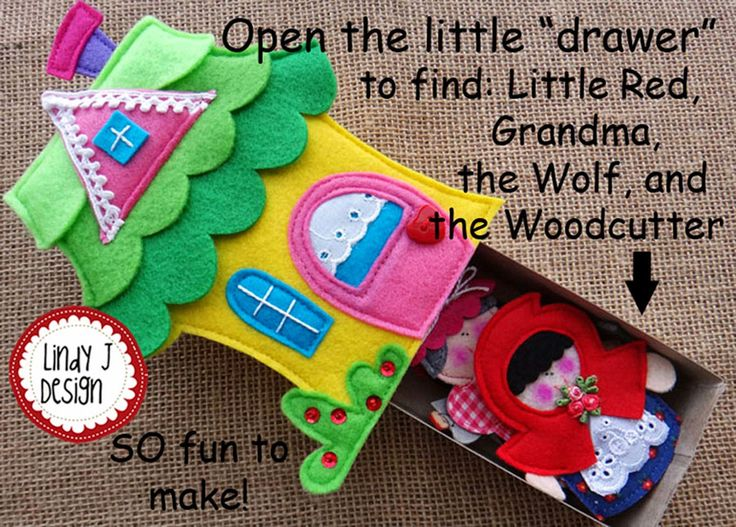 NEW, CUTE little Matchbox Cottage PDFpattern with felt figures by LindyJ Design. Here is Grandmas Cottage with the Little Red Riding Hood figures. Use them as finger puppets, stand-up figures or as little stuffed dolls.