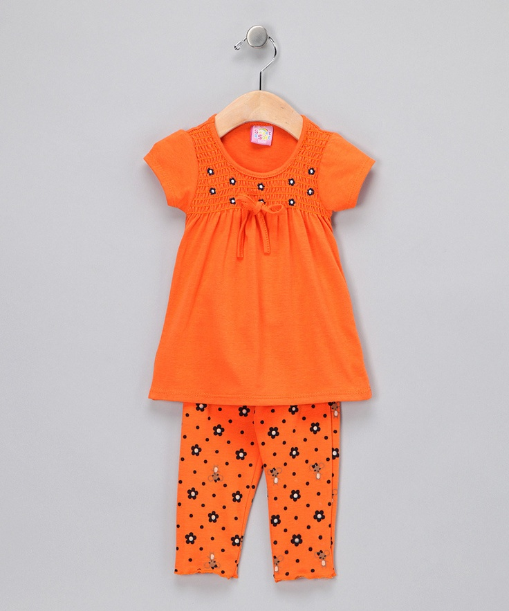 Orange Smocked Top & Leggings ... cute for Halloween & Fall time