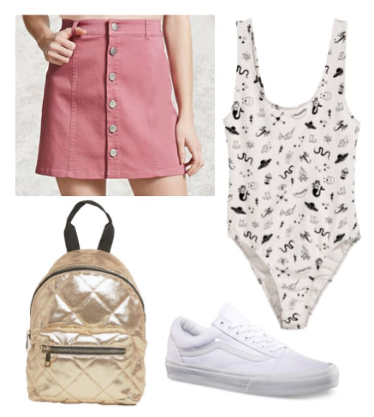 Cute outfit for warm weather: Button front pink mini skirt, gold backpack, white vans, printed body suit