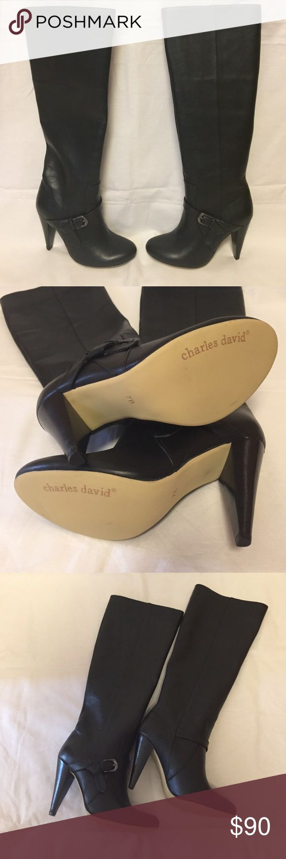 """Charles David """"Vela"""" boots Black knee boots.  4"""" heel. Right heel has small flaw. Never worn. New in box, although to ship the box might put it over 5 lbs. Charles David Shoes Heeled Boots"""