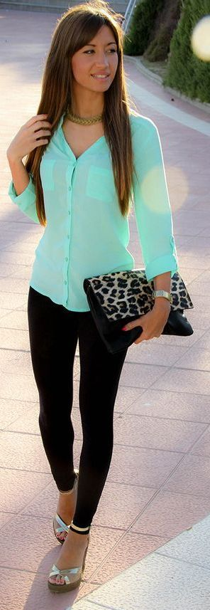 Missy Loop Mint  Button Up Every Day Stylish Spring Outfit Idea