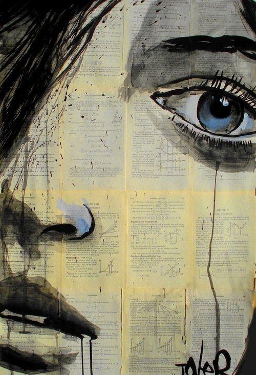 Femenino rostro sobre un lienzo que está ganando popularidad. Técnica mixta in vougue !!